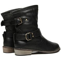 Women Classic Low Heel Buckle Strap Motorcycle Boots Cowboy Riding Mid Calf Boots for Women ** You can get more details by clicking on the image. (This is an affiliate link) #MidCalf