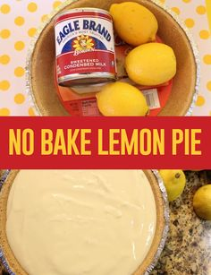 NO BAKE LEMON PIE or KEY LIME PIE. (use lime juice instead - use part whipped cream instead of all sweetened condensed milk, maybe add a liyyle moistened gelatin too) - no-bake-desserts - Torten Lemon Desserts, Lemon Recipes, No Bake Desserts, Delicious Desserts, Dessert Recipes, Easy Desserts, Yummy Recipes, No Bake Lemon Pie, Easy Lemon Pie