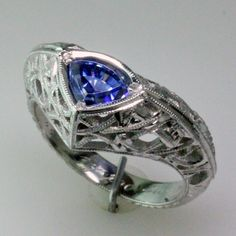 Ottoman-inspired benitoite engagement ring, in platinum.