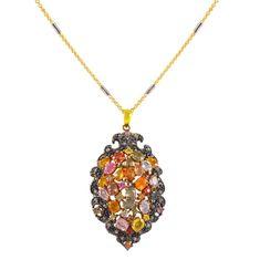 Ασημένιο επίχρυσο κολιέ με πολύχρωμες πέτρες Pendant Necklace, Antiques, Silver, Vintage, Collection, Jewelry, Antiquities, Antique, Jewlery