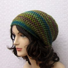Multicolor Stripe Slouchy Crochet Hat  by ColorMyWorldCrochet, $24.00
