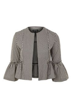 Gingham Crop Frill Jacket