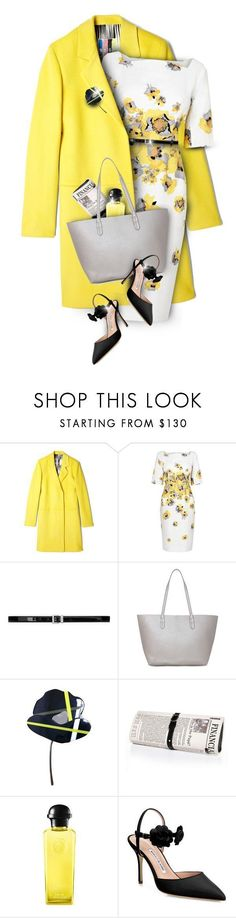 """Floral yellow"" by kseniz13 ❤ liked on Polyvore featuring MSGM, L.K.Bennett, Yves Saint Laurent, Marni, Papà Razzi, Hermès, Manolo Blahnik, outfit, yellow and floral #manoloblahnikoutfit #manoloblahnikyellow"