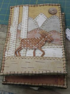 Birch Bark book made in class with Karen Tembreull at Sievers School, Washington Island, WI