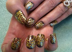 turkey feathers by aliciarock - Nail Art Gallery nailartgallery.nailsmag.com by Nails Magazine www.nailsmag.com #nailart