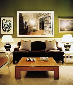 a great wat to keep dark walls from being oppressive is to add a bright white wainscot. Lonny Ruthie Sommers GRN ART