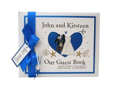 Scottish tartan kilt and wedding dress, with beach shells, starfish wedding guest book in Royal Blue.  Perfect for a destination wedding abroad
