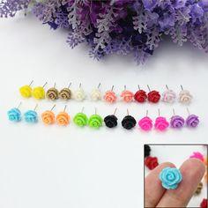 12 Pairs Women Girls Delicate Charming Resin Rose Flower Jewellery Stud Earrings #unbrandgeneric #Stud