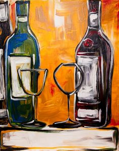 Wine for Two - The Paint Bar (change this to a tall/narrow canvas and just paint the bottle on the left).