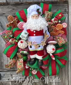 Santa Wreath, Traditional Christmas Wreath, Red Green Christmas,Christmas Wreath, Christmas Swag, Christmas Door Hanging, Holiday Wreath, Holiday Swag, Winter Wreath, Winter Swag Santa is ready to bring on the Ho Ho Ho as he is seen here with his stunning Santa apron featuring a