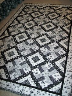 """Black and White """"3 Bean Salad"""" quilt by Wendy Barker Paull"""