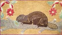 Hooked Rug ... Beaver ... Canadian ... Circa 1940