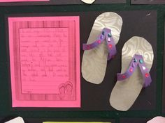 Grade 2 - Where my flip flops took me this summer writing activity. Used wallpaper to make flip flops.