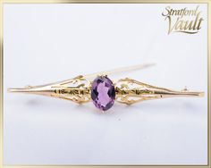 Items similar to Antique Art Deco ~ Amethyst Bar Pin Brooch ~ Yellow Gold ~ ct Genuine Oval Facted Amethyst ~ Scroll Work ~ ~ GIA ~ on Etsy Trombone, Ship Art, Brooch Pin, Amethyst, Art Deco, Jewels, Etsy, Antiques, Unique Jewelry