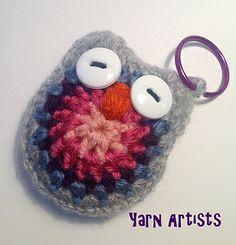 Free crochet owl key chain pattern.