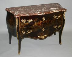 Fine, French, Louis XV style chinoiserie sauteuse sans traverse (two drawer commode): In black lacquer, gilt-bronze mounted, painted and parcel-gilded; in the bombé form with veined marble top.  19th century.
