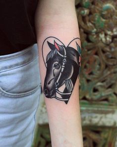 Black, traditional style horse tattoo on the left forearm Patryk Hilton Head Tattoos, Life Tattoos, Body Art Tattoos, Cowgirl Tattoos, Western Tattoos, Inner Forearm Tattoo, Forearm Tattoos, Traditional Tattoo Horse, Black Tattoos