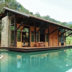 Itaipava House Bordering And Encompassing Water.
