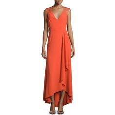 Halston Heritage Sleeveless Strappy High-Low Ruffle Dress (£390) ❤ liked on Polyvore featuring dresses, grenadine, halston heritage dress, v neck a line dress, red high low dress, high low cocktail dress and high low dresses
