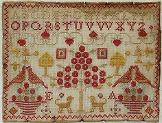 Small 19th Century Wool Silk Work Motif Sampler Initialled ea C 1880 | eBay like the red/gold color combo