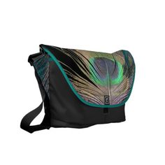 Peacock Feathers on black and turquoise Messenger Bag