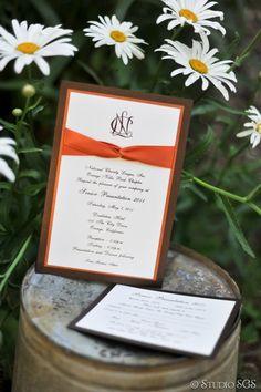 National Charity League Senior Recognition Invitation Set with Ribbon, Orange