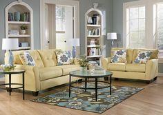 Jennifer Convertibles: Sofas, Sofa Beds, Bedrooms, Dining Rooms & More! Kylee Goldenrod Sofa & Loveseat