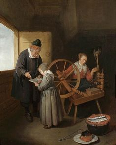 QUIRINGH GERRITSZ. VAN BREKELENKAM    Zwammerdam c.1622/30 – after 1669 Leiden         Interior with a schoolmaster teaching a young girl to read, with a young woman seated at a spinning wheel         Signed with initials and dated lower right: QB. 1660 f.