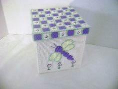 Plastic Canvas Dragonfly Box  (906). $20.00, via Etsy.