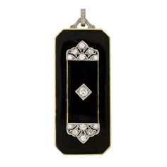 Edwardian Diamond & Black Enamel Gold Locket - can't you see Lady Mary wearing this?