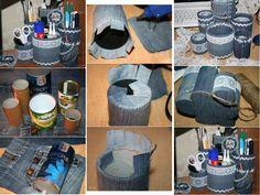 Recycling jeans for pencil holder Artisanats Denim, Denim Purse, Jean Crafts, Denim Crafts, Sewing Crafts, Sewing Projects, Recycling, Blue Jean Dress, Pot A Crayon