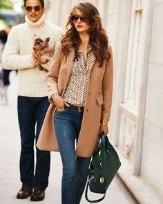 MICHAEL Michael Kors  Reefer Coat, Chain-Print Satin Blouse, Skinny Zipper-Cuff Jeans & Astrid Large Satchel.