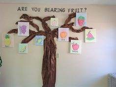 "Fruit of the Spirit Crafts | Fruit of the spirit tree | bible crafts Good concept, but it would look prettier if the fruit were cut out and there were leaves on the tree.  Would it also be better if there were nine trees - one for each fruit of the spirit? In the metaphor, we are the ""trees"" that ""grow fruit"" aka virtue...we ""grow"" many kinds of virtues unlike trees which can only grow one kind... ah, metaphors..."