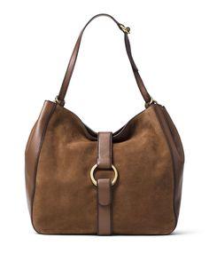 Quincy Large Shoulder Bag, Dark Caramel