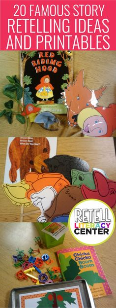 Retell Literacy Center: 20 Famous Story Retelling Ideas and Printables 20 famous story retelling ideas and printables for kindergarten – I love these… I could easily make these a literacy center that'd last the whole year Preschool Books, Kindergarten Classroom, Book Activities, Preschool Activities, Retelling Activities, Center Ideas For Kindergarten, Preschool Library Center, Kindergarten Schedule, Kindergarten Reading Activities