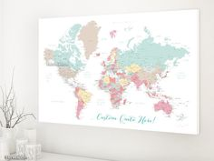 Custom quote world map canvas print - pastels world map with cities. Color combination: pretty pastels