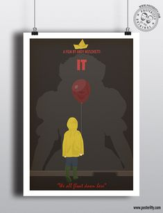 IT - Minimal Movie Poster — Posteritty Minimal Movie Posters, Minimal Poster, Wes Anderson Poster, Harry Potter Movie Posters, The Beast Movie, The Wild Bunch, Pennywise The Clown, Poster On, Minimalism