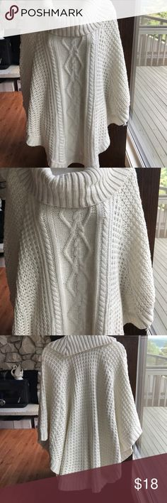 BY DESIGN Cable Knit Poncho Cable Knit Super Soft Poncho , in GUC has on tear , no stains. Price reflects. See photos. Off-White. Size L/XL tear is in the back, could be mended. By Design Sweaters Shrugs & Ponchos
