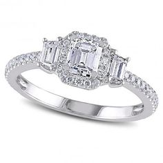 Heres an emerald cut diamond engagement ring elegantly crafted in 14k white gold. Made with professionally chosen and appraised diamonds (approximately