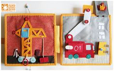 Quiet Book - This site is Ukranian but the pictures are great, can turn the other firetruck into a ladder and use this background 'high rise' - also love the working crane page!
