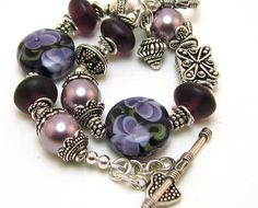 Blooming Violets  Lampwork Sterling Silver by GizmosTreasures, $68.80