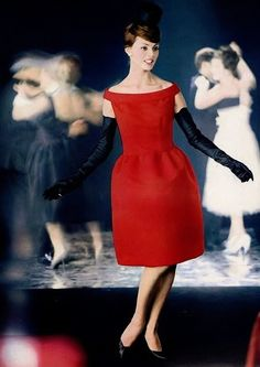 Hubert de Givenchy 1960, red dress ad 60s