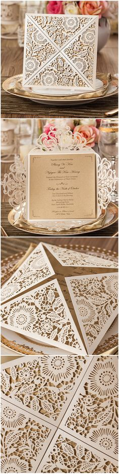 Delicate metallic laser cut wedding invitations. There is so much detail in these. Would you use these to announce your wedding day?