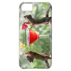 iPhone 5C cover with a photo of two squirrels sipping a cocktail through umbrella straws.