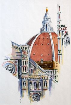 Duomo, Florence, by Rosalind Ridley Watercolor Sketch, Watercolor Illustration, Watercolor Paintings, Florence Art, Florence Italy, Architecture Antique, Architecture Art, Renaissance Architecture, Watercolor Architecture