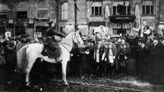 [November Hungarian Republic Admiral Miklós Horthy entering Budapest as the head of the National Army on 16 November He is being greeted by city officials in front of the Hotel Gellért. Newspaper Archives, Showing Livestock, National Archives, World War I, Budapest, Army, Ww2, Calgary, November