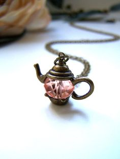 the crystal teapot necklace in bronze by barberryandlace on Etsy, $9.00