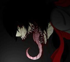 anime art moster insane scary bloody teeth dark evil