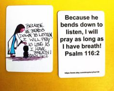 I will pray as long as I have breath... Psalm 116:2/Mini Scripture Doodle Bible Memory Verse Card of Encouragment/Bible Verse Bookmark/Pray