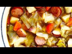 Cabbage, Sausage and Potato Soup recipe is quick and easy to make, and SO delicious and comforting. It's also easy to make in the Instant Pot or Crock-Pot, if you prefer. Cabbage Sausage Potato, Cabbage And Smoked Sausage, Cabbage And Potatoes, Sausage Potatoes, Fried Cabbage, Sausage Soup, Recipe For Polish Sausage And Cabbage, Crock Pot Sausage, Sausage Dinner Recipes